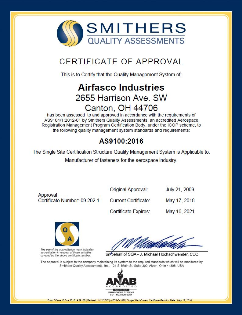 AS 9100:2016 Certificate of Approval